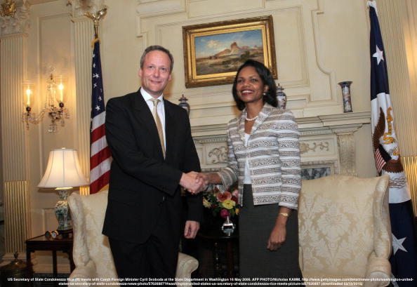 Washington, UNITED STATES: US Secretary of State Condoleezza Rice (R) meets with Czech Foreign Minister Cyril Svoboda at the State Department in Washington 16 May 2006. AFP PHOTO/Nicholas KAMM (Photo credit should read NICHOLAS KAMM/AFP/Getty Images)